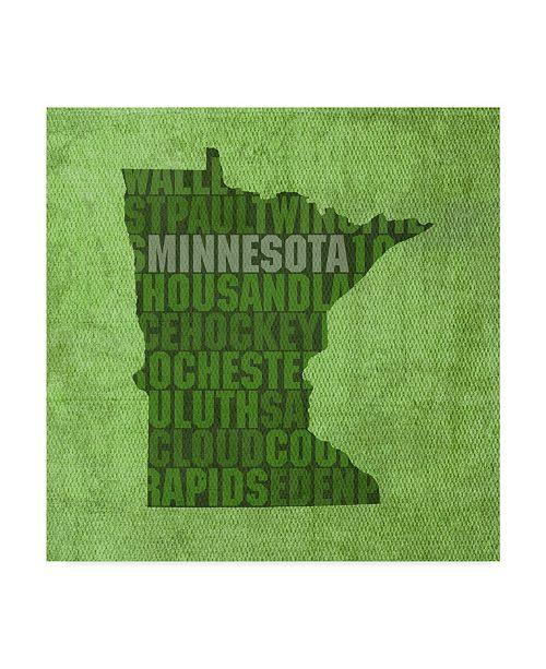 "Trademark Global Red Atlas Designs 'Minnesota State Words' Canvas Art - 24"" x 24"""