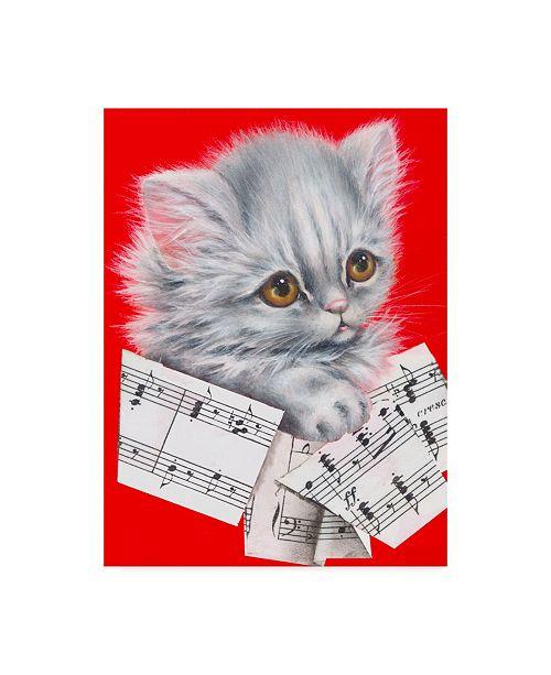 "Trademark Global Peggy Harris 'Music Cat Gray' Canvas Art - 35"" x 47"""