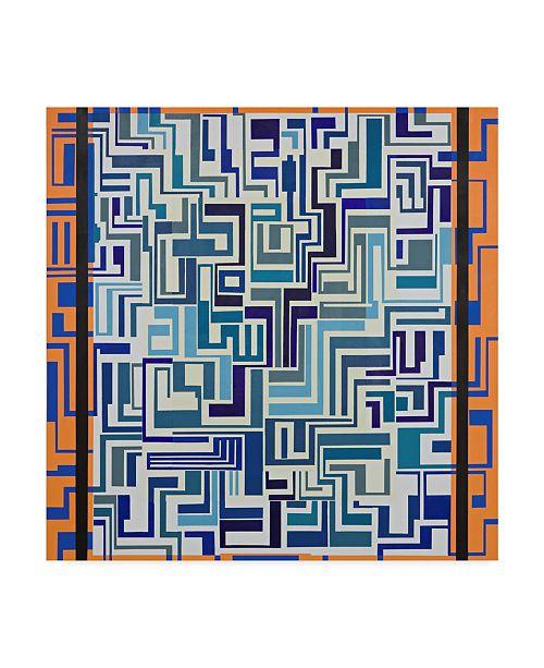 "Trademark Global Manuel Ros 'Blue Orange Abstract' Canvas Art - 35"" x 35"""