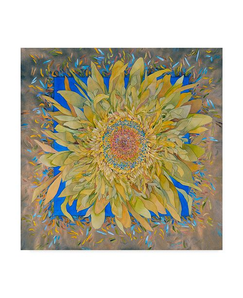 "Trademark Global Sharon Pitts 'Golden Flower' Canvas Art - 35"" x 35"""