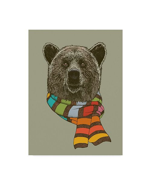 "Trademark Global Rachel Caldwell 'Bear Scarf' Canvas Art - 24"" x 32"""