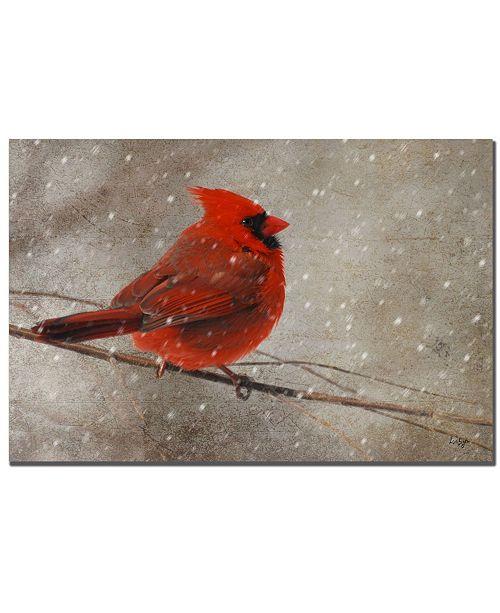 "Trademark Global Lois Bryan 'Cardinal in Winter' Canvas Art - 32"" x 22"""