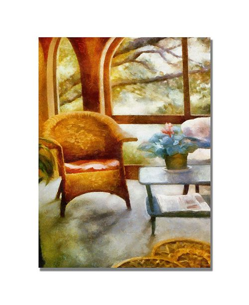 "Trademark Global Michelle Calkins 'Wicker Chair and Cyclmen' Canvas Art - 47"" x 30"""