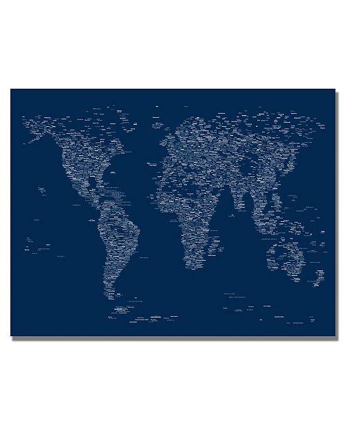 """Trademark Global Michael Tompsett 'Font World Map' Canvas Art - 32"""" x 22"""""""