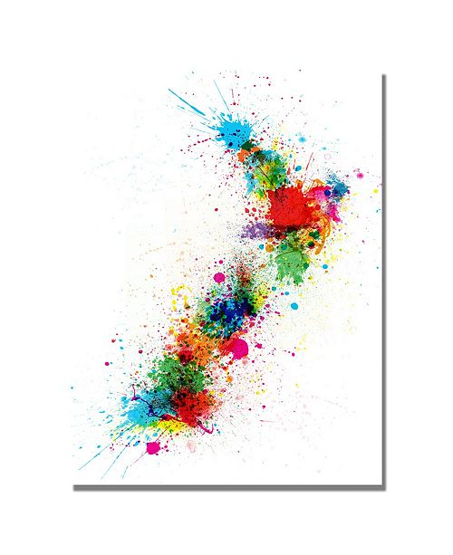 "Trademark Global Michael Tompsett 'New Zealand Paint Splashes Map' Canvas Art - 47"" x 30"""