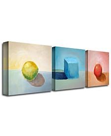 """Michelle Calkins 'Lemon Cube Sphere' Canvas Art - 24"""" x 24"""""""
