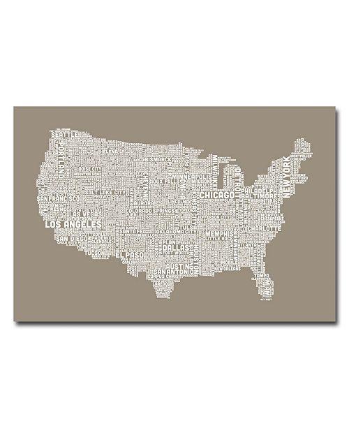 "Trademark Global Michael Tompsett 'US City Map XIV' Canvas Art - 47"" x 30"""