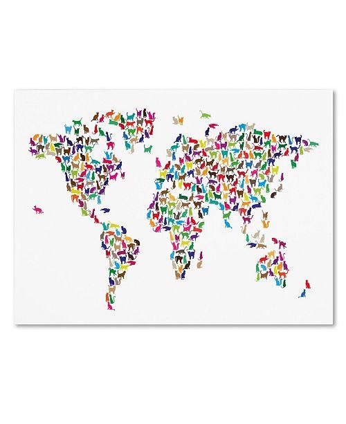 """Trademark Global Michael Tompsett 'Cats World Map' Canvas Art - 32"""" x 22"""""""