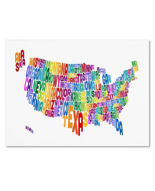 "Trademark Global Michael Tompsett 'USA States Text Map 3' Canvas Art - 32"" x 22"""