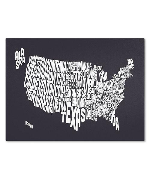 "Trademark Global Michael Tompsett 'CHARCOAL-USA States Text Map' Canvas Art - 47"" x 30"""