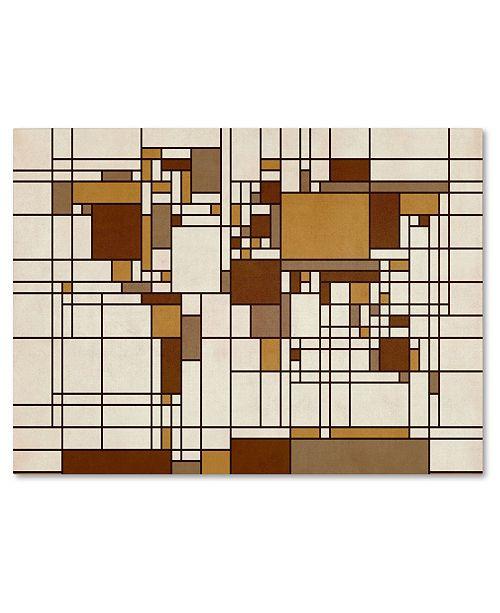 """Trademark Global Michael Tompsett 'Mondrian World Map' Canvas Art - 47"""" x 30"""""""