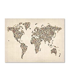 "Michael Tompsett 'Ladies Shoes World Map' Canvas Art - 24"" x 16"""