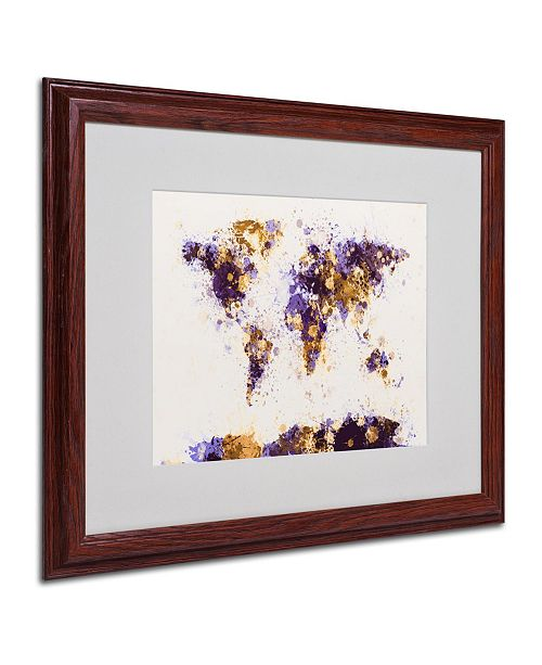 "Trademark Global Michael Tompsett 'Paint Splashes World Map 4' Matted Framed Art - 20"" x 16"""