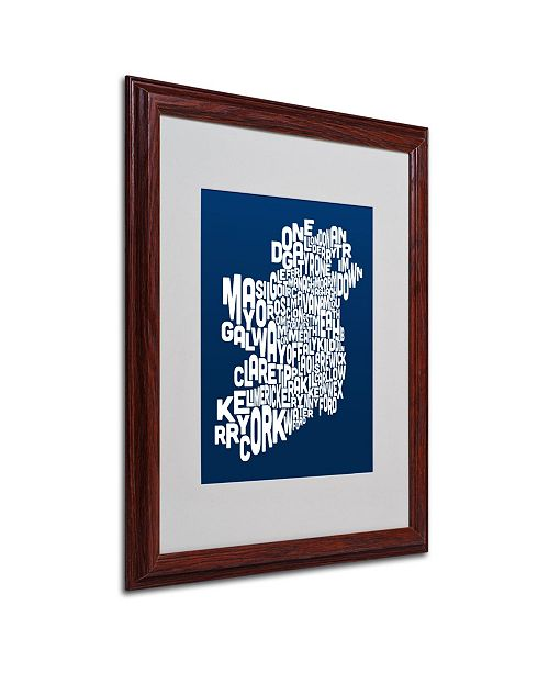 """Trademark Global Michael Tompsett 'NAVY-Ireland Text Map' Matted Framed Art - 20"""" x 16"""""""