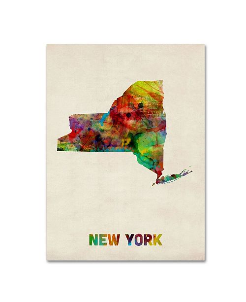 "Trademark Global Michael Tompsett 'New York Map' Canvas Art - 47"" x 35"""