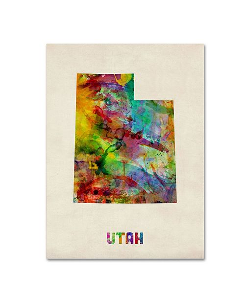 "Trademark Global Michael Tompsett 'Utah Map' Canvas Art - 47"" x 35"""