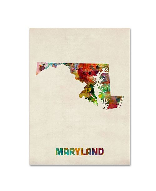 "Trademark Global Michael Tompsett 'Maryland Map' Canvas Art - 24"" x 18"""
