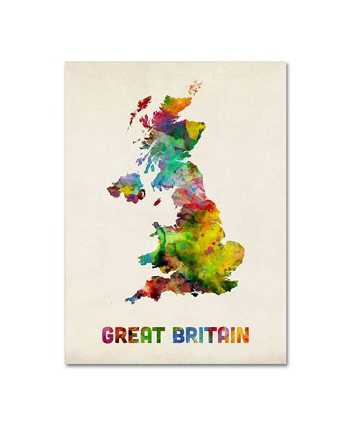 "Trademark Global Michael Tompsett 'UK Watercolor Map' Canvas Art - 24"" x 18"""