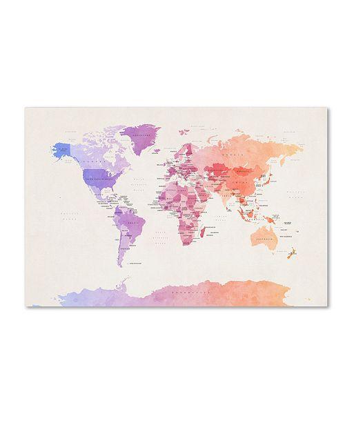 "Trademark Global Michael Tompsett 'Poltical Watercolor Map' Canvas Art - 24"" x 16"""