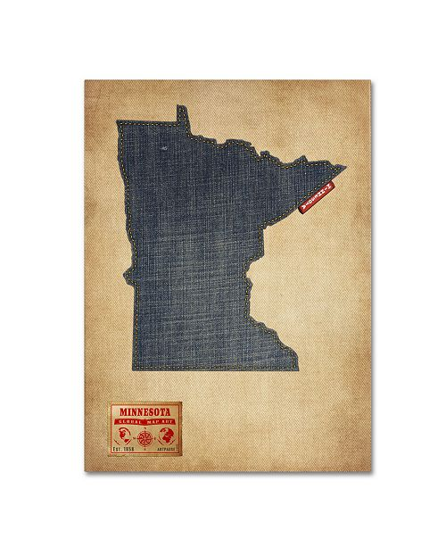 "Trademark Global Michael Tompsett 'Minnesota Map Denim Jeans Style' Canvas Art - 47"" x 35"""