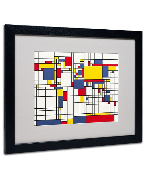 "Trademark Global Michael Tompsett 'Mondrian World Map' Matted Framed Art - 20"" x 16"""