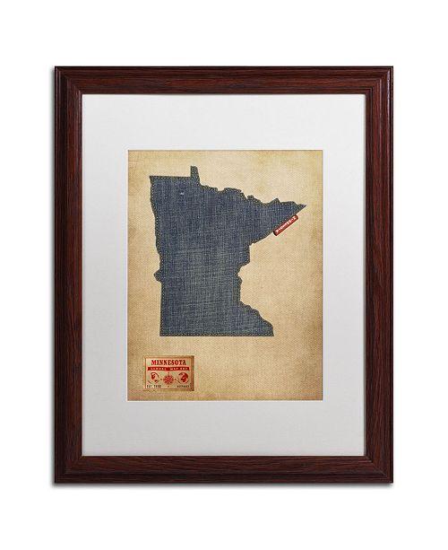 """Trademark Global Michael Tompsett 'Minnesota Map Denim Jeans Style' Matted Framed Art - 20"""" x 16"""""""