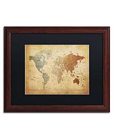"""Michael Tompsett 'Time Zones Map of the World' Matted Framed Art - 20"""" x 16"""""""
