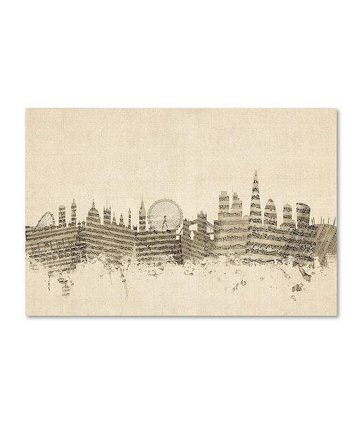"Trademark Global Michael Tompsett 'London England Skyline Sheet Music' Canvas Art - 30"" x 47"""