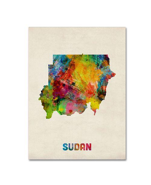 "Trademark Global Michael Tompsett 'Sudan Watercolor Map' Canvas Art - 35"" x 47"""