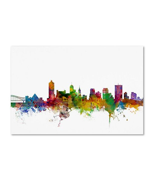 "Trademark Global Michael Tompsett 'Memphis Tennessee Skyline' Canvas Art - 30"" x 47"""