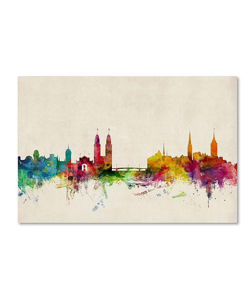 """Trademark Global Michael Tompsett 'Zurich Switzerland Skyline' Canvas Art - 30"""" x 47"""""""