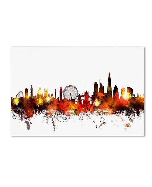 "Trademark Global Michael Tompsett 'London England Skyline II' Canvas Art - 22"" x 32"""