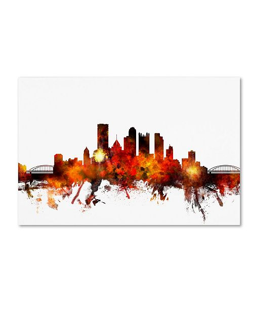 "Trademark Global Michael Tompsett 'Pittsburgh Pennsylvania Skyline III' Canvas Art - 30"" x 47"""