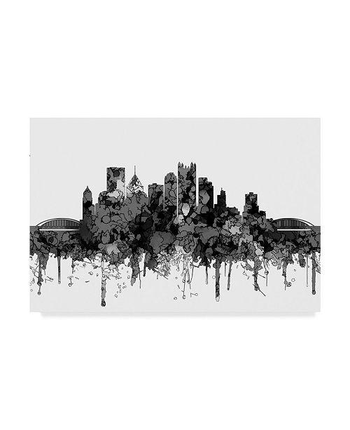 "Trademark Global Marlene Watson 'Pittsburgh Pennsylvania B and W' Canvas Art - 12"" x 19"""