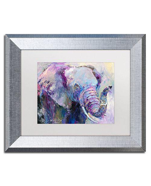 """Trademark Global Richard Wallich 'Blue Elephant' Matted Framed Art - 11"""" x 14"""""""