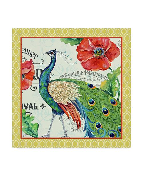 """Trademark Global Jean Plout 'Peacocks In The Garden Yellow' Canvas Art - 14"""" x 14"""""""