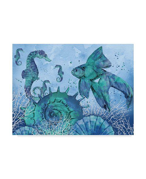 "Trademark Global Jean Plout 'Ocean Blues Shell' Canvas Art - 14"" x 19"""