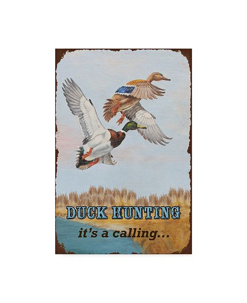 """Trademark Global Jean Plout 'Duck Hunting Calling' Canvas Art - 12"""" x 19"""""""