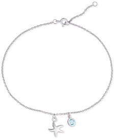 Blue Topaz & Starfish Charm Ankle Bracelet (1/3 ct. t.w.) in Sterling Silver