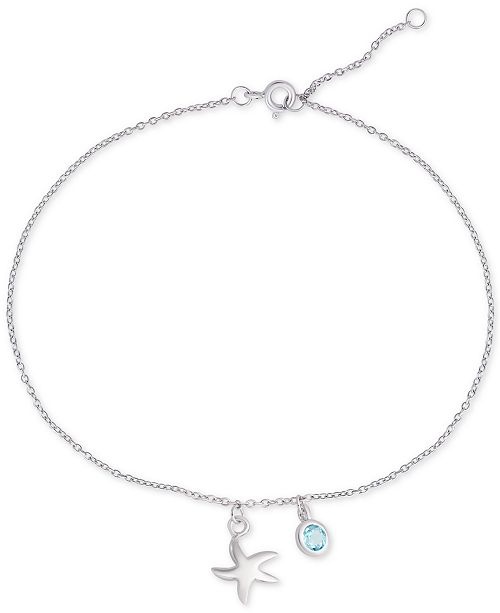 Macy's Blue Topaz & Starfish Charm Ankle Bracelet (1/3 ct. t.w.) in Sterling Silver