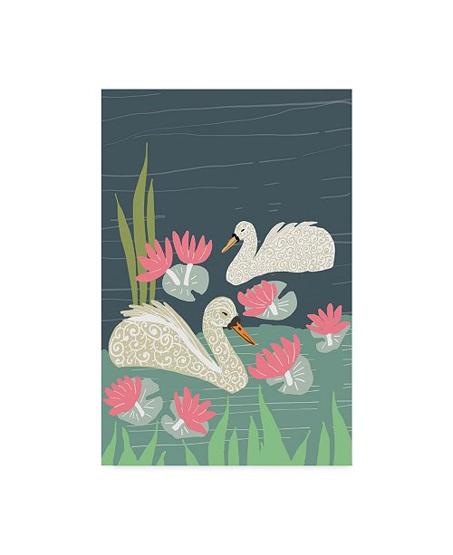 "Trademark Global Karen Fields 'Lily Pad Swan' Canvas Art - 12"" x 19"""