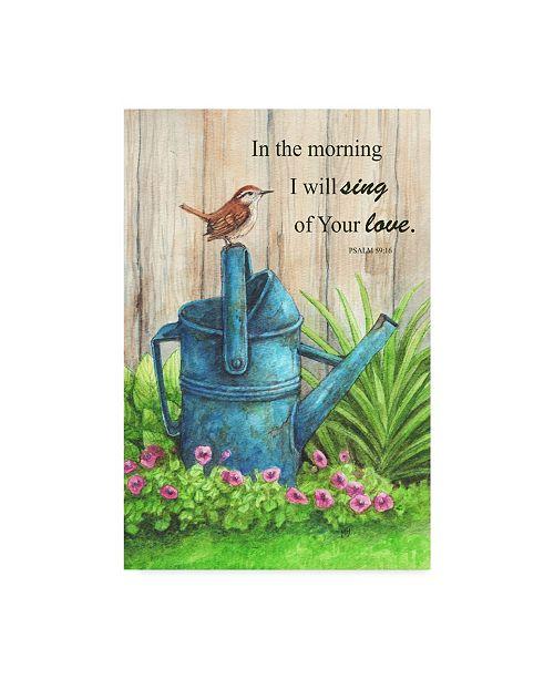 "Trademark Global Melinda Hipsher 'Wren Water Can, Psalm' Canvas Art - 12"" x 19"""