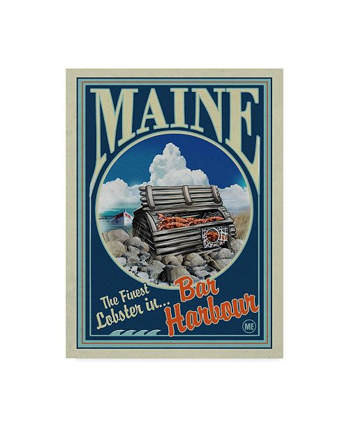 """Trademark Global Old Red Truck 'Lobster Trap' Canvas Art - 14"""" x 19"""""""