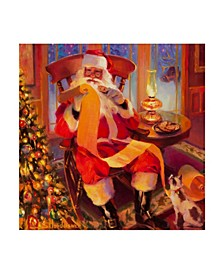 "Steve Henderson 'Santa Christmas List' Canvas Art - 14"" x 14"""