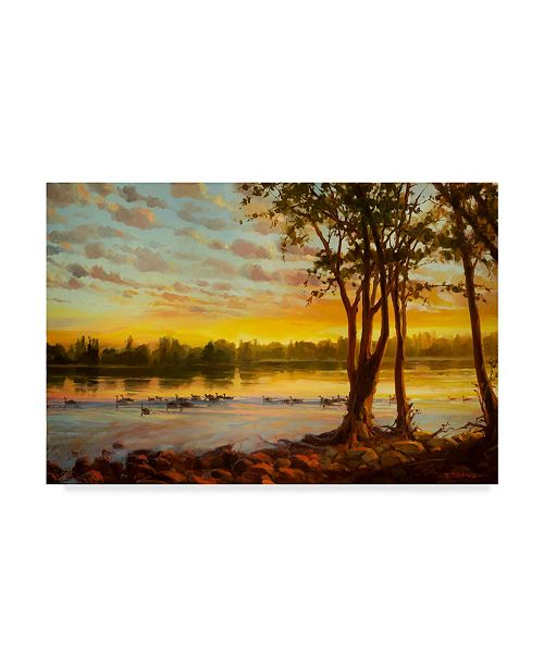 "Trademark Global Steve Henderson 'Sunrise On The Columbia' Canvas Art - 12"" x 19"""