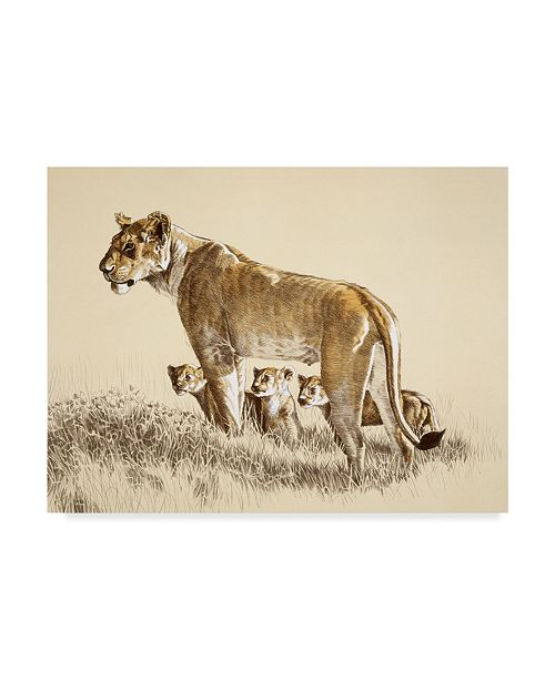 "Trademark Global Ron Parker 'Lioness And Cubs' Canvas Art - 14"" x 19"""
