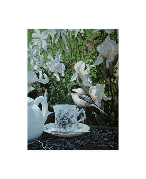 "Trademark Global Ron Parker 'Chickadee And Teacup' Canvas Art - 14"" x 19"""