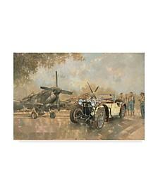 """Peter Miller 'Cream Cracker MG 4 Spitfires' Canvas Art - 12"""" x 19"""""""