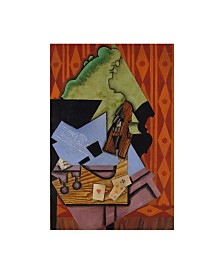 """Juan Gris 'Violin and Playing Cards on a Table, 1913' Canvas Art - 12"""" x 19"""""""
