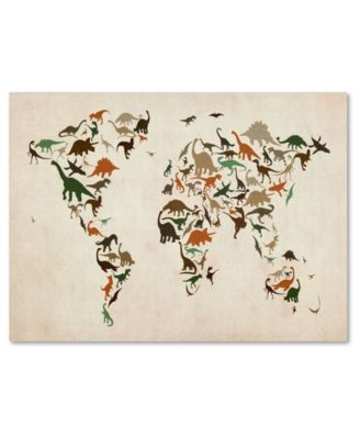 "Michael Tompsett 'Dinosaur World Map 2' Canvas Art - 14"" x 19"""